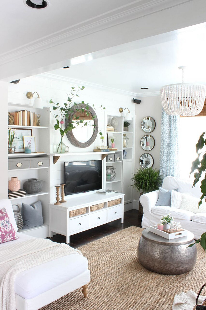 Living room renovation. How to add bookshelves to a living room. We also added built in bookshelves and shiplap to create a focal point in the living room #livingroom #livingroombookshelves Home Bunch's Beautiful Homes of Instagram @laura_willowstreetinteriors