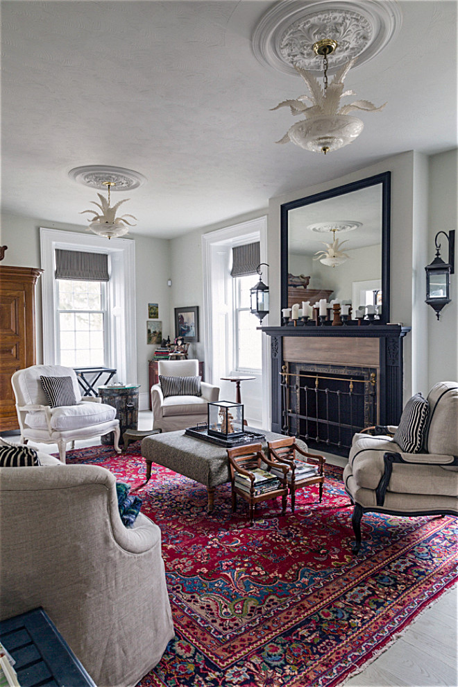 Living room rug. Antique Living room rug ideas. Antique rug. Carpet in living room is vintage purchased through E-Carpet Gallery. Antique rug ideas #antiquerugs #livingroomrugn #antiquerug Home Bunch's Beautiful Homes of Instagram Cynthia Weber Design @Cynthia_Weber_Design