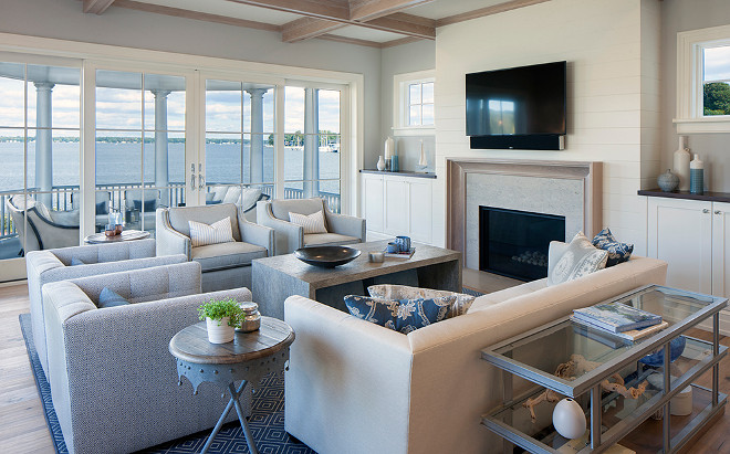Low back furniture don't interrupt the view in this beachfront living room. #livingroom #furniture #view Francesca Owings Interior Design