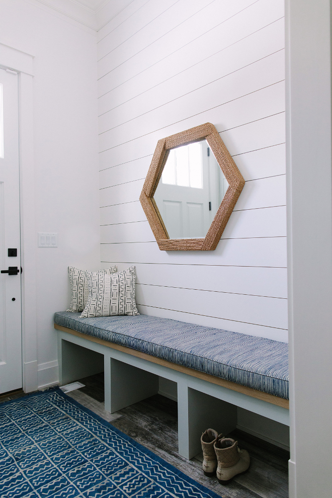 Mudroom Entry with built in bench, shiplap and kilim runner. Mudroom Entry with built in bench, shiplap and kilim runner. Mudroom Entry with built in bench, shiplap and kilim runner. Mudroom Entry with built in bench, shiplap and kilim runner ideas #Mudroom #Entry #builtinbench #entrybench #shiplap #kilimrunner Kate Marker Interiors