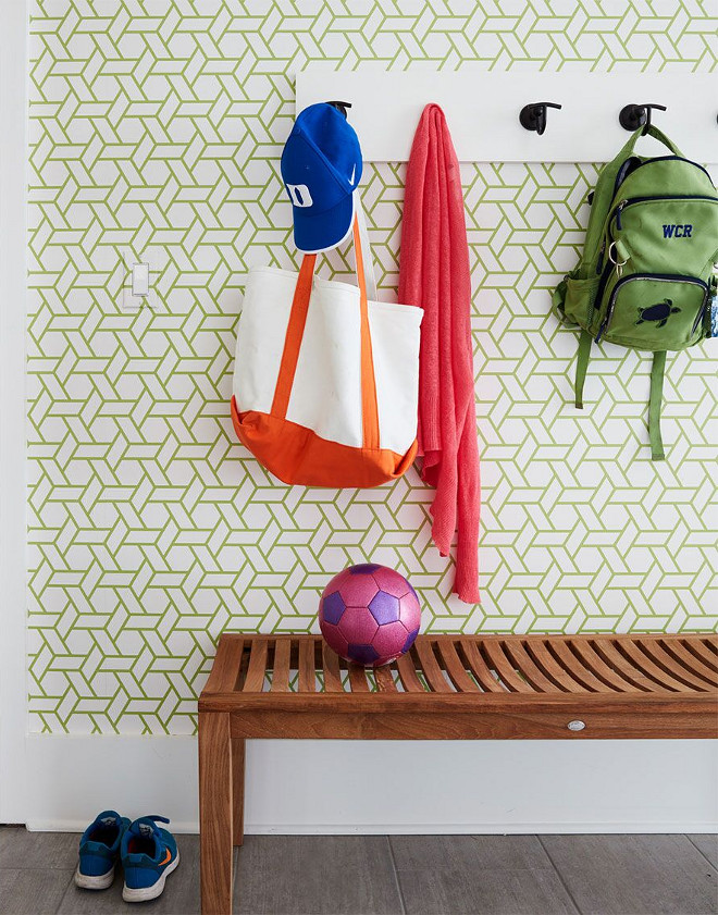 Mudroom Wallpaper. Mudroom geometric wallpaper #mudroom #mudroomwallpaper #geometricwallpaper Andrew Howard Interior Design