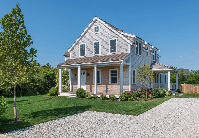 Nantucket Shingle Cottage with front porch and gravel driveway. Nantucket Shingle Cottage with front porch and gravel driveway. Nantucket Shingle Cottage with front porch and gravel driveway #NantucketShingleCottage #ShingleCottage #Nantucket #frontporch #porch #graveldriveway Cynthia Hayes Interior Design