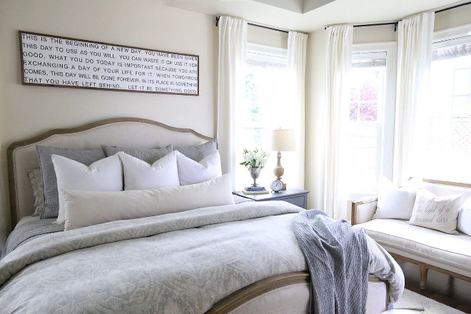 Neutral Bedroom Paint Color Restoration Hardware Linen Paint Color. Restoration Hardware Linen. Restoration Hardware Linen. Restoration Hardware Linen #RestorationHardwareLinen Home Bunch's Beautiful Homes of Instagram @cambridgehomecompany