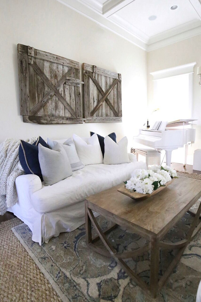 Neutral Farmhouse Paint Color Restoration Hardware Linen. Decorative DIY Wood Wall Barn Doors. Restoration Hardware Linen Paint Color Restoration Hardware Linen #RestorationHardwareLinen #neutral #farmhouse #paintcolor Home Bunch's Beautiful Homes of Instagram @cambridgehomecompany
