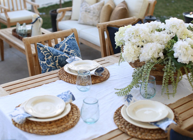 Outdoor Table Decor. Blue and white Outdoor Table Decor. Blue and white Outdoor Table Decor. Blue and white Outdoor Table Decor. Blue and white Outdoor Table Decor #BlueandwhiteOutdoorTableDecor #OutdoorTableDecor Home Bunch's Beautiful Homes of Instagram @cambridgehomecompany