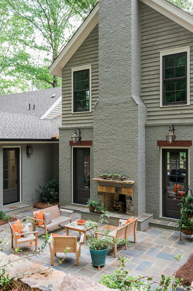 Painted Brick Chimmey. Painted Brick Chimmey. Exterior Painted Brick Chimmey. Painted Brick Chimmey Patio #PaintedBrick #brickChimmey #chimney #patio Curran & Co. Architects