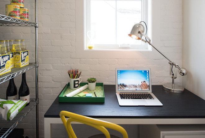 Pantry with painted brick and desk. Farmhouse Pantry with painted brick and desk. This pantry is great - an affordable! You really cut down your costs by adding store-bought shelves and desk instead of adding built-ins. Also notice the beautiful painted brick. Pantry with painted brick and desk Farmhousepantry #Pantry #paintedbrick #desk Refined Custom Homes