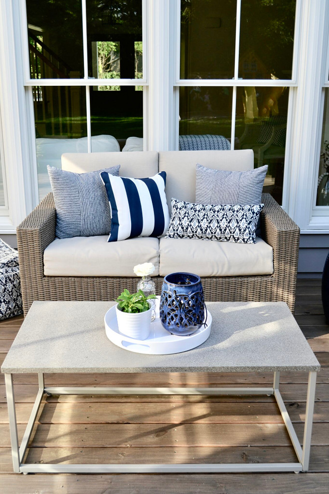 Patio Decor Ideas. Porch Stain: Cordovan Brown by Behr in Semi-Transparent Patio Furniture: Target Heatherstone Collection Lanterns: Ikea Pillows & Poufs: Target Striped Pillows: TJ Maxx. Home Bunch's Beautiful Homes of Instagram @sweetthreadsco