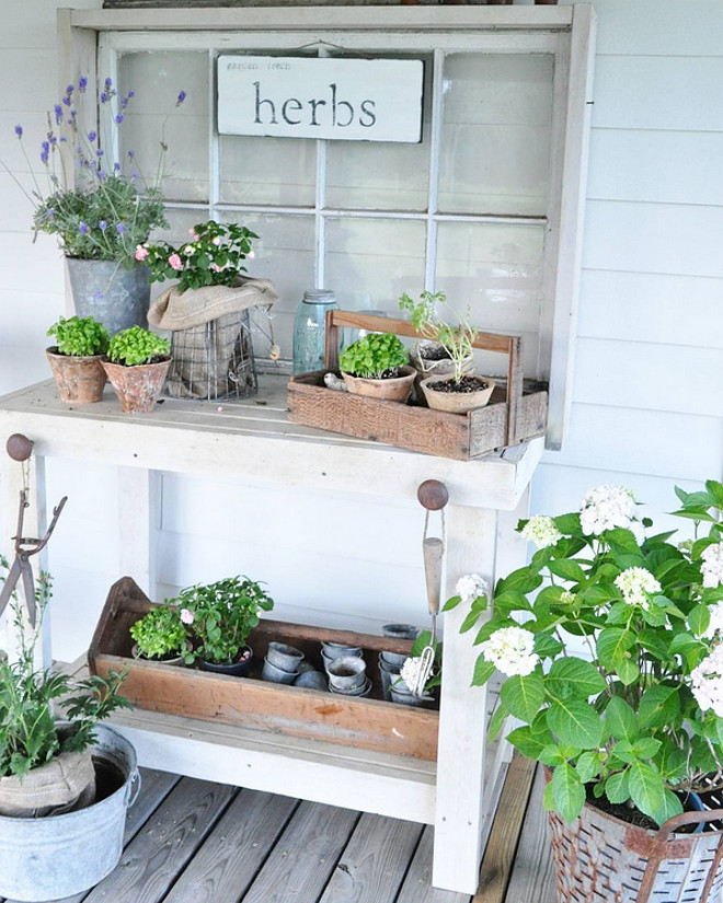 Porch. Farmhouse Porch. Porch. Farmhouse Porch. Porch. Time in the garden is my favorite! Potting table is from an antique shop. Farmhouse Porch #Porch #FarmhousePorch Home Bunch's Beautiful Homes of Instagram @becky.cunningham.home