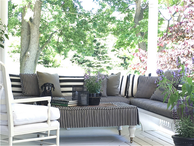 Porch. Porch Ideas. Farmhouse porch with banquette. Porch banquette. #porch #banquette Home Bunch's Beautiful Homes of Instagram Cynthia Weber Design @Cynthia_Weber_Design