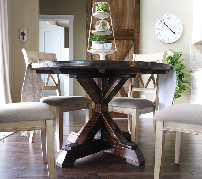 Salvaged Wood Trestle Round Dining Table. Dark Stained Salvaged Wood Trestle Round Dining Table. Salvaged Wood Trestle Round Dining Table #SalvagedWood #TrestleRound #DiningTable Home Bunch's Beautiful Homes of Instagram @AshleysDecorSpace_