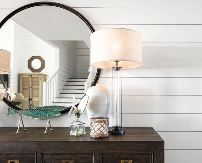 Sherwin Williams Pure White. Sherwin Williams Pure White. Shiplap painted in Sherwin Williams Pure White. Walls: Horizontal Shiplap with a 1/8-inch reveal. #SherwinWilliamsPureWhite Julie Barrett Design