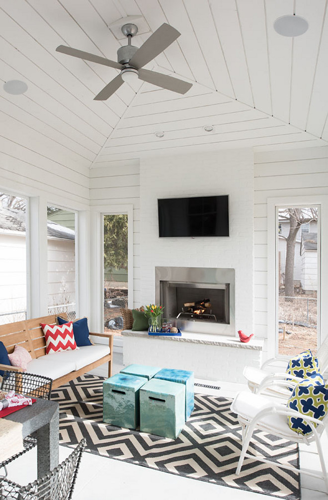 Shiplap Porch. Shiplap Porch Ideas. The screened-in porch features painted cedar shiplap. Paint color is Benjamin Moore White. Shiplap Screened in Porch. Shiplap Porch. Shiplap Porch Ideas. Shiplap Screened in Porch #ShiplapPorch #Shiplap #Porch #ShiplapScreenedinPorch #ScreenedinPorch Refined Custom Homes