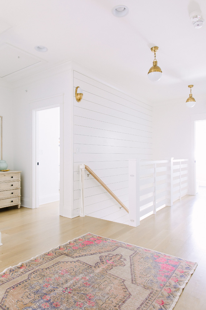 Shiplap accent wall. Shiplap accent wall and shiplap inspired staircase railing. Shiplap accent wall. Shiplap accent wall and shiplap inspired staircase railing. Shiplap accent wall White Shiplap accent wall. Shiplap accent wall #Shiplap #accentwall #Shiplapaccentwall Kate Marker Interiors