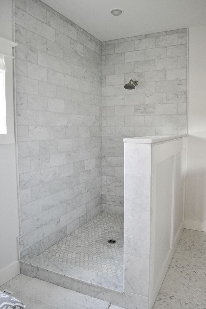 Shower Tiling Ideas. Shower Tiling Ideas. Shower Tile: Bianco Carrara Mable in Oversized Subway Shower Floor Tile: Bianco Carrara Marble in Hexagon Shower Tiling Ideas. Shower Tiling Ideas #ShowerTiling #ShowerTilingIdeas Home Bunch's Beautiful Homes of Instagram @sweetthreadsco