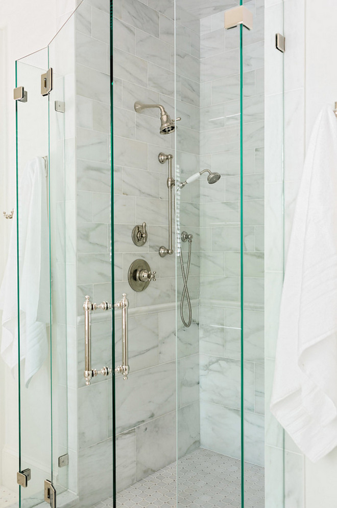 Small Shower. Small Shower with white marble tile. Small Shower. Small Shower. Small Shower with white marble tile #SmallShower #shower #whitemarbletile Curran & Co. Architects