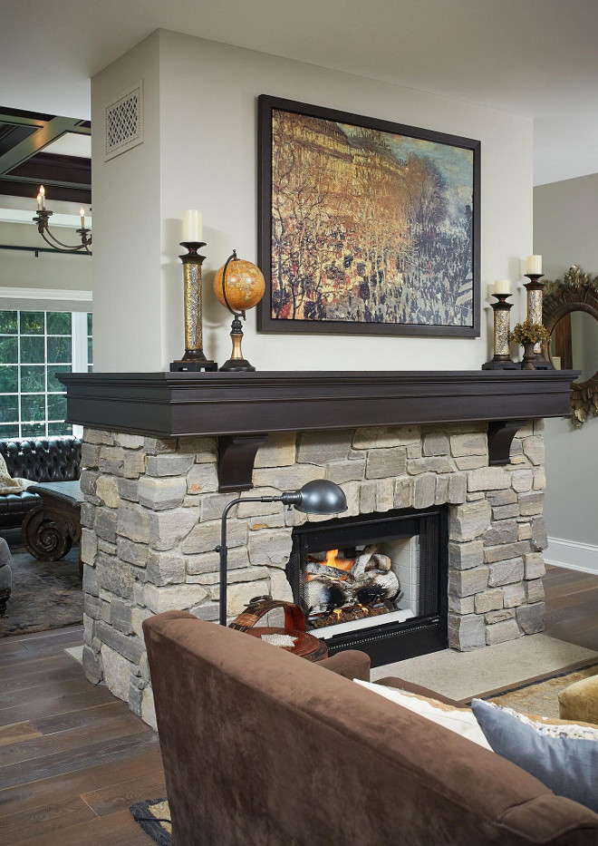 Stone Fireplace Black River Ashlar. The stone used on this two-sided fireplace is Black River Ashlar. Stone Fireplace Black River Ashlar. Stone Fireplace Black River Ashlar Stone Fireplace Black River Ashlar #Stone #Fireplace #BlackRiverAshlar #stonefireplace Mike Schaap Builders