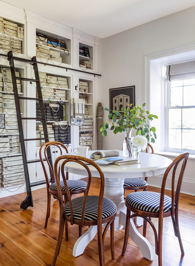 Studio Design Ideas. Studio Design Ideas. My design studio is on the second floor of the house. I designed a wall of cabinetry to store all my samples and resource materials. The library ladder allowed me to maximize the 10 ft. ceilings by going up up up! Studio Design Ideas. Studio Design Ideas #StudioDesign #StudioDesignIdeas Home Bunch's Beautiful Homes of Instagram Cynthia Weber Design @Cynthia_Weber_Design