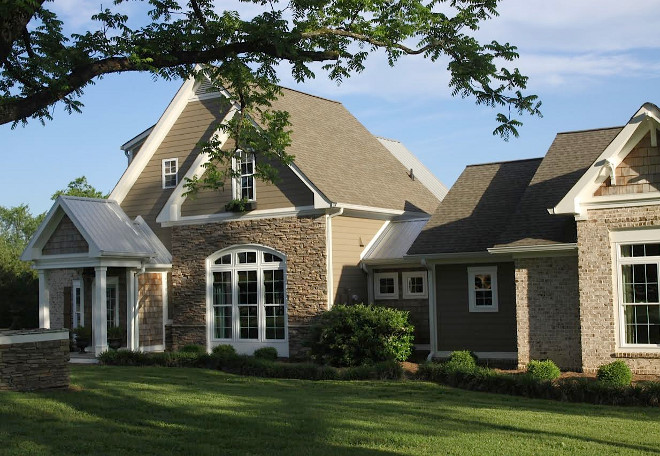 Tan exterior home with Hardie siding and combination of exterior stone and exposed exterior brick. Tan exterior home with Hardie siding and combination of exterior stone and exposed exterior brick #Tanexterior #homeexterior #Hardiesiding #exteriorstone #exposedbrick #exteriorbrick Home Bunch's Beautiful Homes of Instagram @blessedmommatobabygirls
