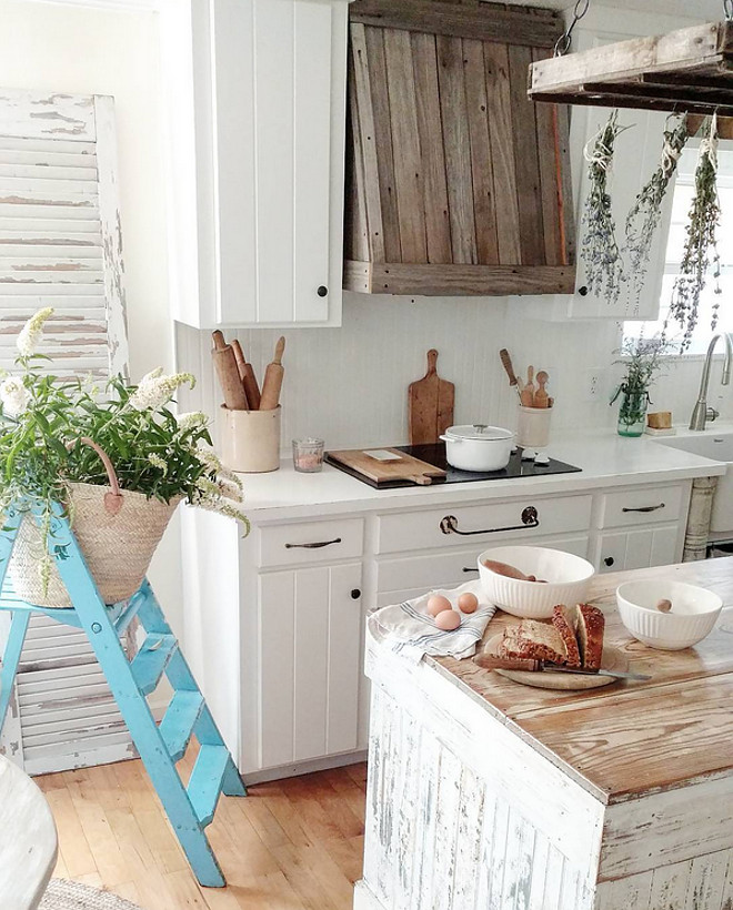 The cabinets and beadboard backsplash are painted in Valspar Kitchen Enamel White Bistro paint. The cabinets and beadboard backsplash are painted in Valspar Kitchen Enamel White Bistro paint. Home Bunch's Beautiful Homes of Instagram @becky.cunningham.home