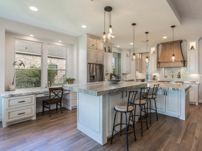 Transitional Modern Farmhouse Kitchen Design With Glazed Cabinets