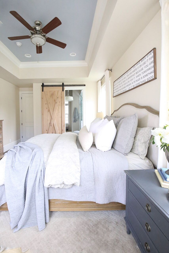 Tray Ceiling Bedroom Paint Color. Tray Ceiling Bedroom Paint Color. Pottery Barn - Sherwin Williams Rain. Tray Ceiling Bedroom Paint Color. Tray Ceiling Bedroom Paint Color #TrayCeilingBedroomPaintColor #TrayCeilingPaintColor Home Bunch's Beautiful Homes of Instagram @cambridgehomecompany