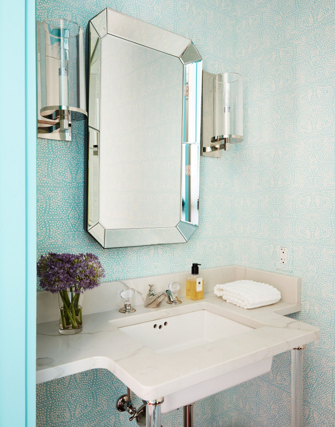 Turquoise Wallpaper. Turquoise Powder Room wallpaper. The turquoise door, painted in Benjamin Moore 739 Un-Teal We Meet Again, works perfectly with the turquoise wallpaper. Turquoise Wallpaper. Turquoise Powder Room wallpaper ideas. Turquoise Wallpaper. Turquoise Powder Room wallpaper #TurquoiseWallpaper #Turquoise #PowderRoom #wallpaper Andrew Howard Interior Design