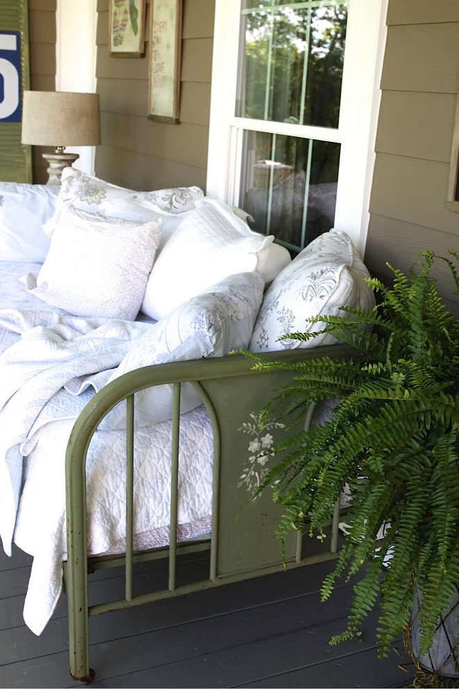Vintage Daybed Porch. Farmhouse porch with vintage daybed. Vintage Daybed Porch Ideas. Vintage Daybed Porch #VintageDaybed #Porch #farmhouse #farmhouseporch #daybed Home Bunch's Beautiful Homes of Instagram @blessedmommatobabygirls