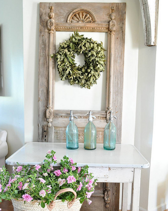 Vintage Door. Vintage Door. Farmhouse interiors with vintage door #vintagedoor Home Bunch's Beautiful Homes of Instagram @becky.cunningham.home