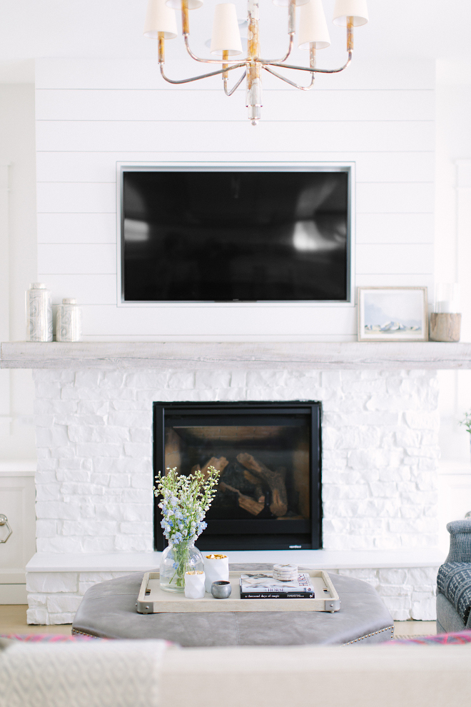 White Brick and shiplap fireplace. White Brick and shiplap fireplace. Gorgeous fireplace featuring painted white brick, whitewashed wood mantel and shiplap paneling. White Brick and shiplap fireplace. White Brick and shiplap fireplace. White Brick and shiplap fireplace. White Brick and shiplap fireplace #WhiteBrickfireplace #Brickfireplace #shiplap #shiplapfireplace Kate Marker Interiors