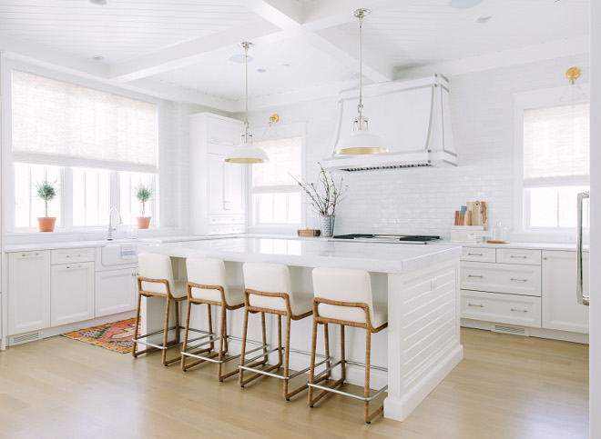 White Farmhouse Kitchen with shiplap island. White Farmhouse Kitchen with shiplap island White Farmhouse Kitchen with shiplap island. White Farmhouse Kitchen with shiplap island #WhiteFarmhouseKitchen #shiplapisland Kate Marker Interiors