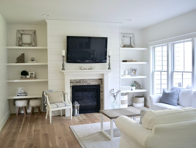 White living room with brick and shiplap fireplace. White living room with brick and shiplap fireplace ideas. White living room with brick and shiplap fireplace. White living room with brick and shiplap fireplace #Whitelivingroom #brickandshiplapfireplace Home Bunch's Beautiful Homes of Instagram @sweetthreadsco