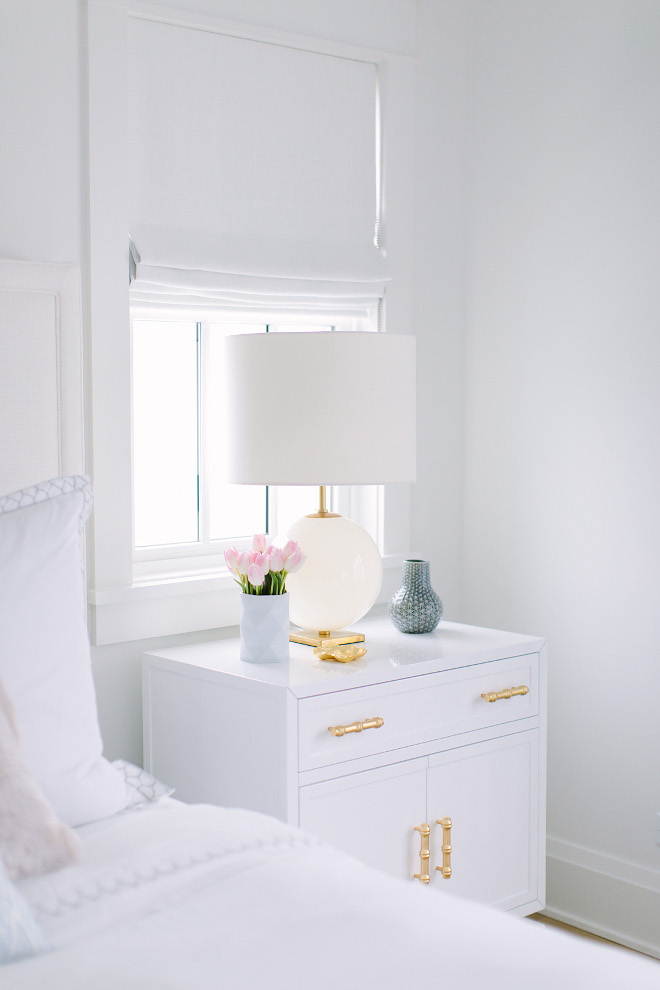 White nightstand and white linen Roman Shades. Bedroom White nightstand and white Roman Shades. Bedroom White nightstand and white Roman Shades #Bedroom #Whitenightstand #whiteRomanShades #whitelinenRomanShades Kate Marker Interiors