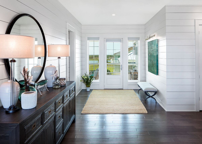 White shiplap walls and dark hardwood floors. White shiplap walls and dark hardwood floor ideas. White shiplap walls and dark hardwood floors. White shiplap walls and dark hardwood floors #Whiteshiplapwalls #shiplapwalls #darkhardwoodfloors Julie Barrett Design