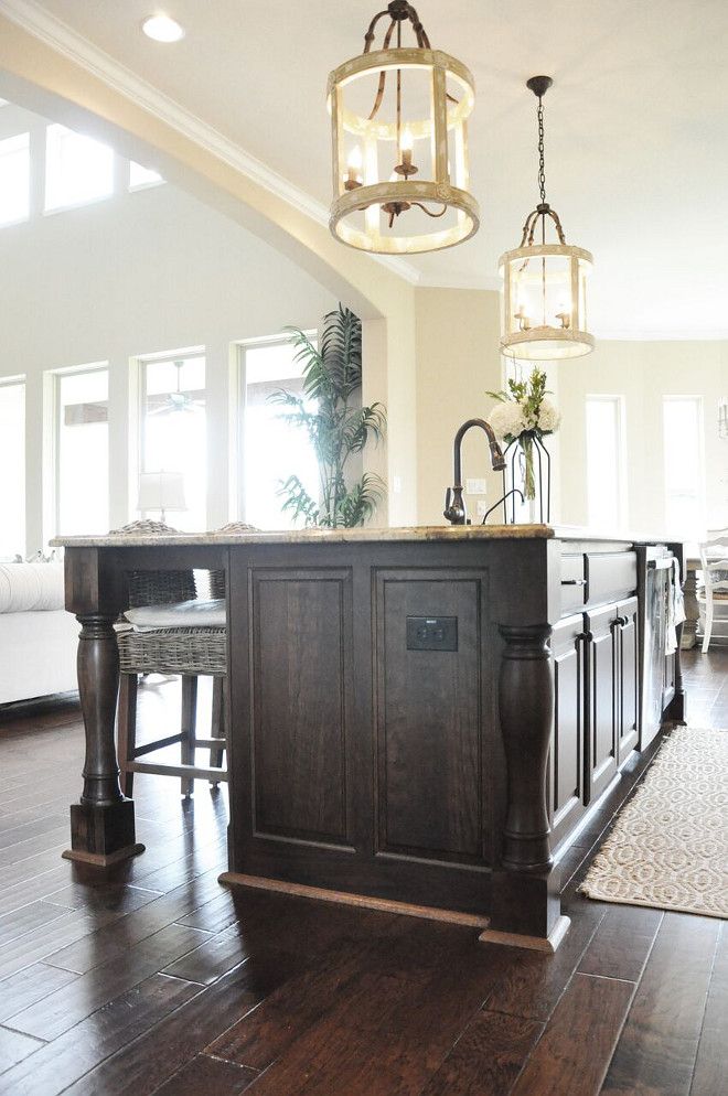 Dark Stained Kitchen Island. Dark Stained Kitchen Island. Chocolate with Ebony glaze. Dark Stained Kitchen Island. Dark Stained Kitchen Island #DarkStainedKitchenIsland #StainedKitchenIsland Home Bunch's Beautiful Homes of Instagram @thegracehouse