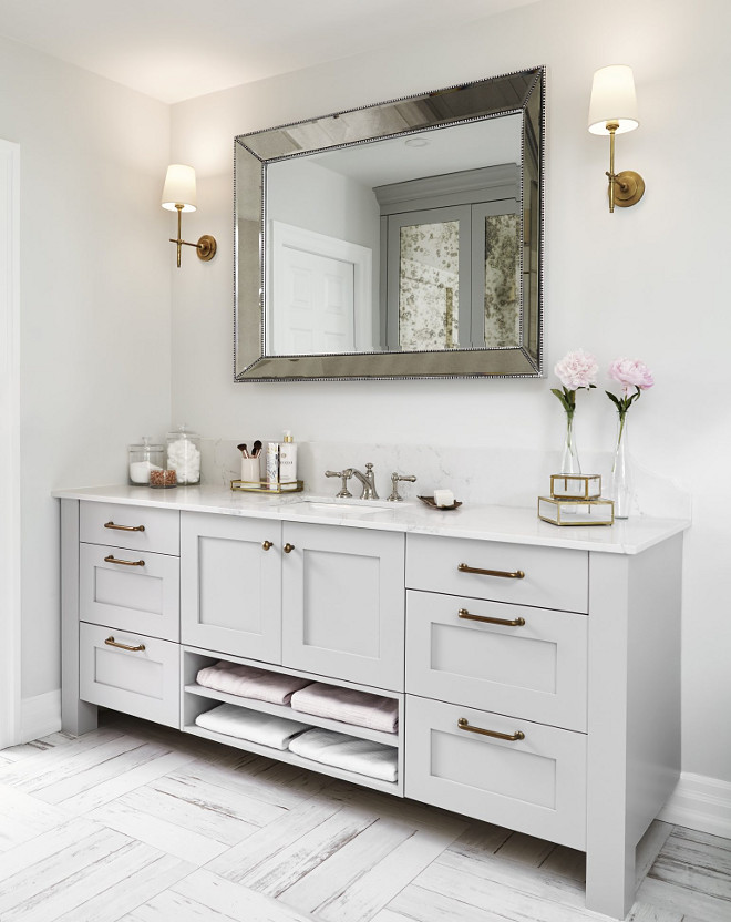 Bathroom vanity. One sink allows more counter space. Bathroom vanity #bathroom #vanity #sink #counterspace Square Footage Inc.