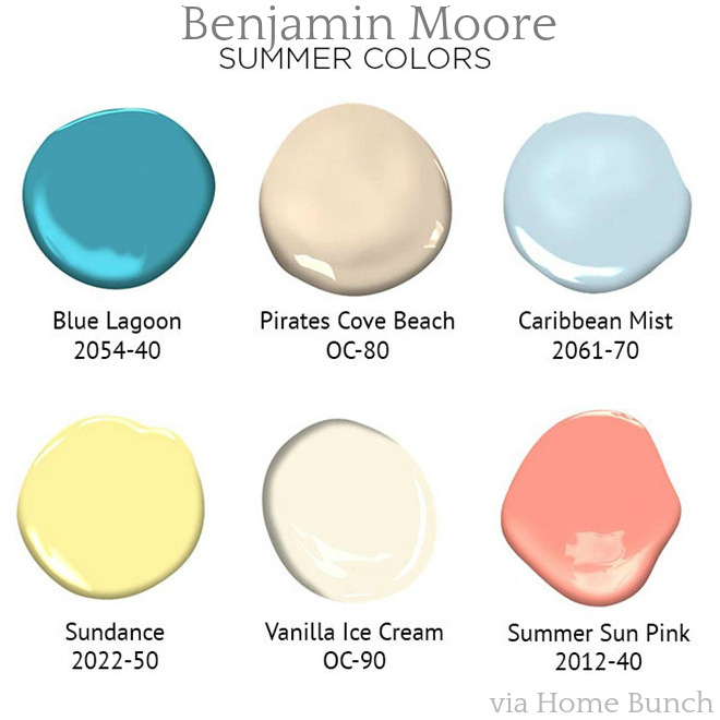 Benjamin Moore Summer Paint Colors. Benjamin Moore 2054-40 Blue Lagoon. Benjamin Moore OC-80 Pirates Cove Beach. Benjamin Moore 2061-70 Caribbean Mist. Benjamin Moore 2022-50 Sundance. Benjamin Moore OC-90 Vanilla Ice Cream. Benjamin Moore 2012-40 Summer Sun Pink. #BenjaminMoore #SummerPaintColors #PaintColors #BenjaminMoorePaintColors #BenjaminMooreBlueLagoon #BenjaminMooreOC80PiratesCoveBeach #BenjaminMooreCaribbeanMis #BenjaminMooreSundance #BenjaminMooreOC90VanillaIceCream #BenjaminMooreSummerSunPink Via Benjamin Moore