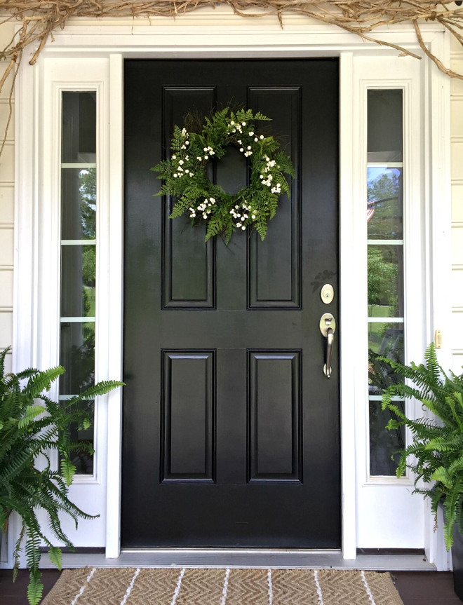Black Door. Black front door. Front door color is basic black exterior paint. #blackdoor #blackfrontdoor Beautiful Homes of Instagram @middlesisterdesign - Home Bunch