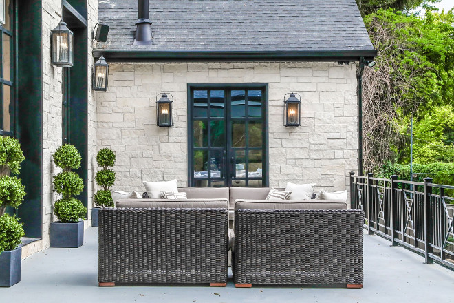Exterior with Limestone and black windows. Exterior with Limestone and black windows. Exterior with Limestone and black windows. #Exterior #Limestoneexterior #blackwindows Tree Haven Homes. Danielle Loryn Design