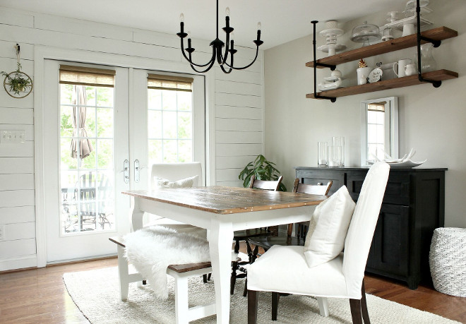 Farmhouse Dining Room Shiplap. Dining Room Shiplap. #DiningRoomShiplap #FarmhouseDiningRoomShiplap #DiningRoom #Shiplap Beautiful Homes of Instagram @middlesisterdesign - Home Bunch