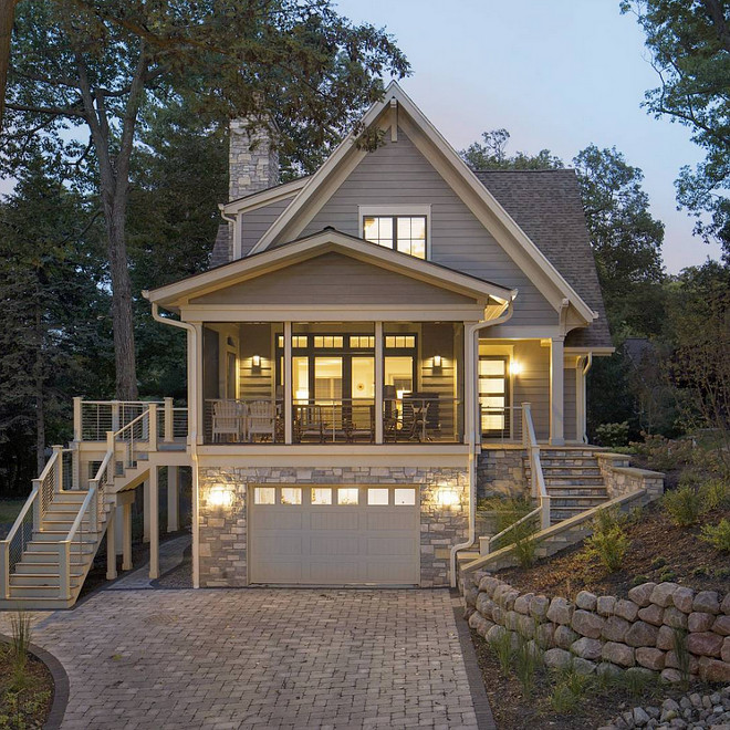 Lake House Exterior Paint Color and exterior stone. Lake house exterior paint color Hallman Lindsay Place of Dust. Exterior stone Halquist Stone Kensington. #lakehouse #lakehouseExterior #exterior #paintcolor #exteriorstone #stone Lake Geneva Architects