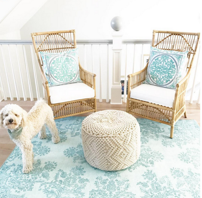 Landing Area Ideas. Turn your that awkward area in your upstairs hallway into a seating area. Chair are from Wayfair and Rug is from Home Goods #landingarea #landing #chairs #rug Artisan Signature Homes