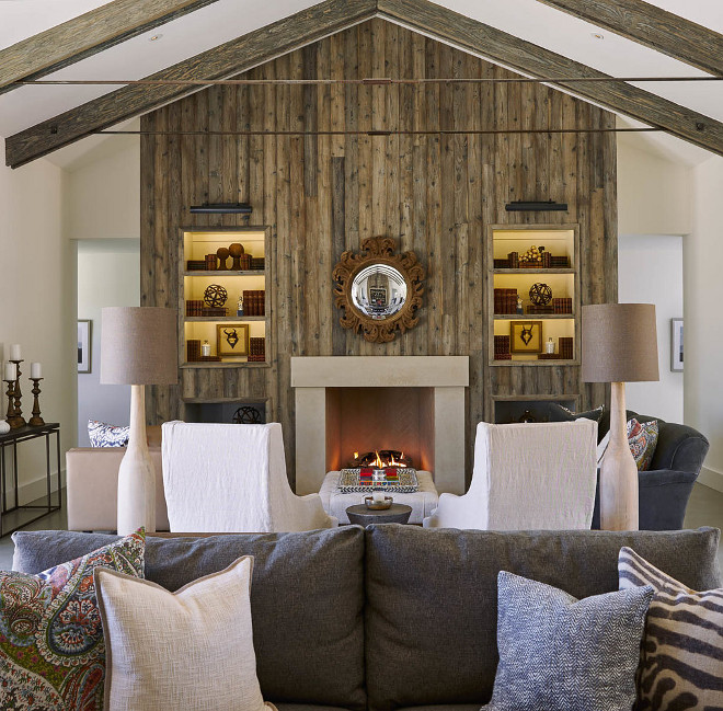 Living room features Barn wood clad fireplace with exposed rafters and collar ties. Living room features Barn wood clad fireplace with exposed rafters and collar ties #Livingroom #Barnwoodfireplace #exposedrafters Holder Design Associates