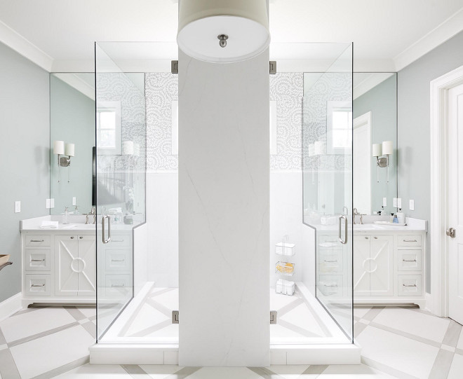 Shower. Shower ideas. I am loving the floor and the quartz tower in the middle of the shower with the mitered corners. #bathroom #shower #quartz #tile #showercorner Artisan Signature Homes