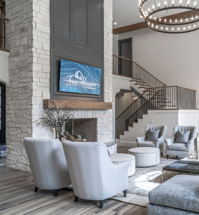 Stone fireplace. Limestone Fireplace. Antique Limestone Fireplace. Natural stone fireplace Limestone Fireplace #Limestone #Fireplace #stonefireplace Tree Haven Homes. Danielle Loryn Design