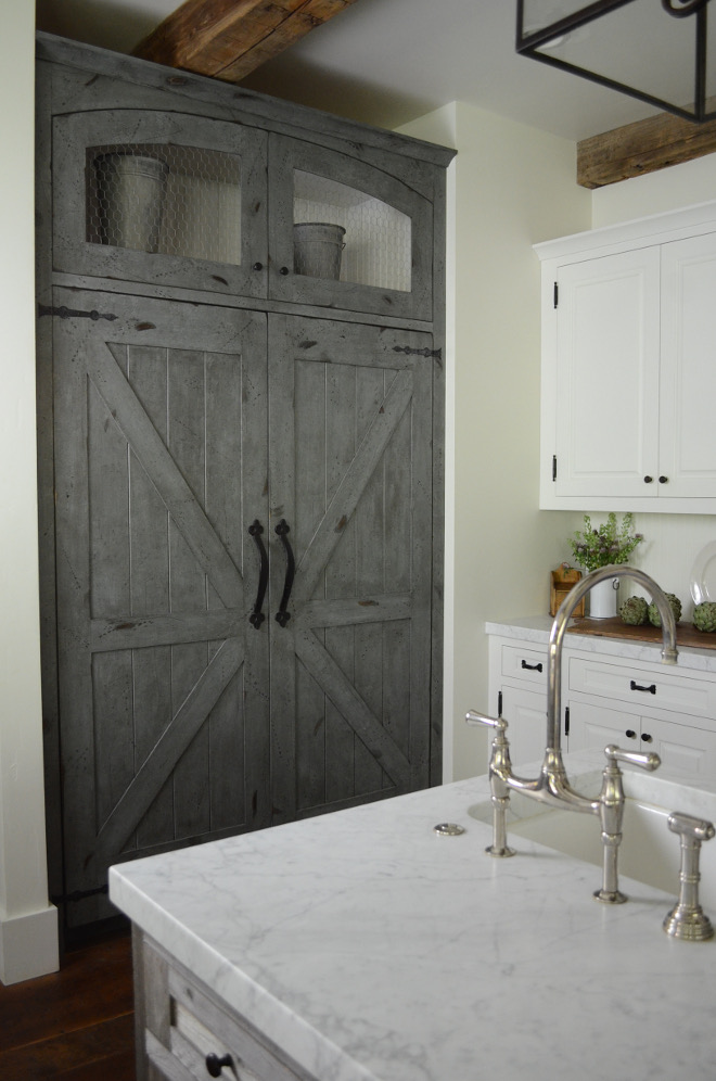 Barn Door Inspired Fridge Panel. We did not think that a large stainless steel refrigerator would work with this kitchen design, so we used the Thermador column refrigerator and freezer and had custom wood panels made to create a barn door look. #BarnDoor #FridgePanel Beautiful Homes of Instagram @SanctuaryHomeDecor