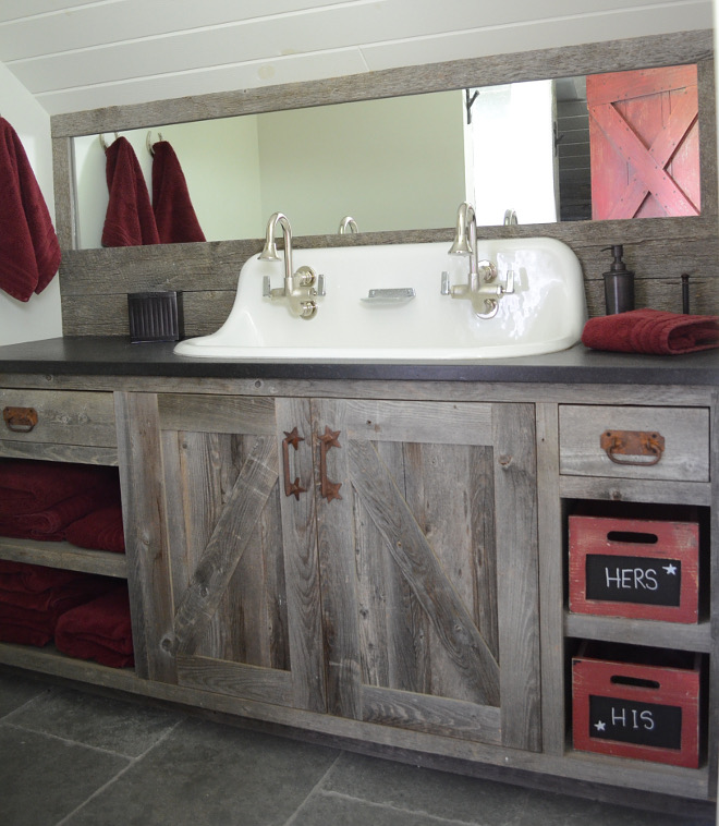 Barnwood Bathroom Vanity. Barnwood Bathroom Vanity. Barnwood Bathroom Vanity. Farmhouse Barnwood Bathroom Vanity #BarnwoodBathroomVanity #Barnwood #BathroomVanity #BarnwoodVanity Beautiful Homes of Instagram @SanctuaryHomeDecor