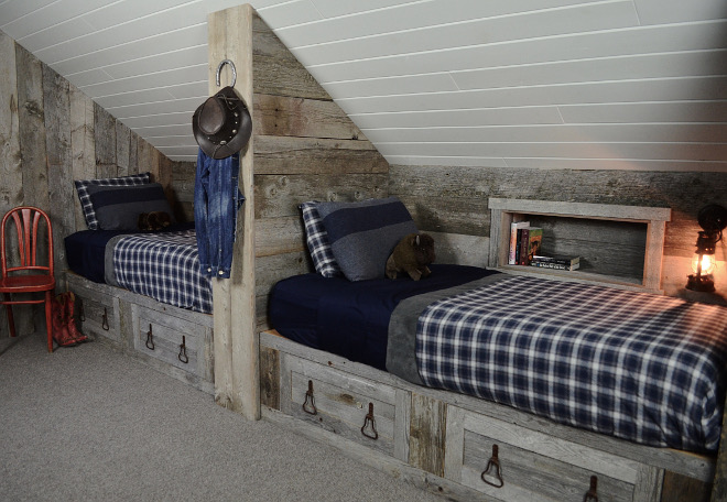 Barnwood Bunk Beds. Barnwood Bunk Beds. We used reclaimed barn wood for the beds and added larger planks on the walls. Reclaimed Barnwood Bunk Beds. Rustic Barnwood Bunk Beds #Barnwood #BunkBeds Beautiful Homes of Instagram @SanctuaryHomeDecor