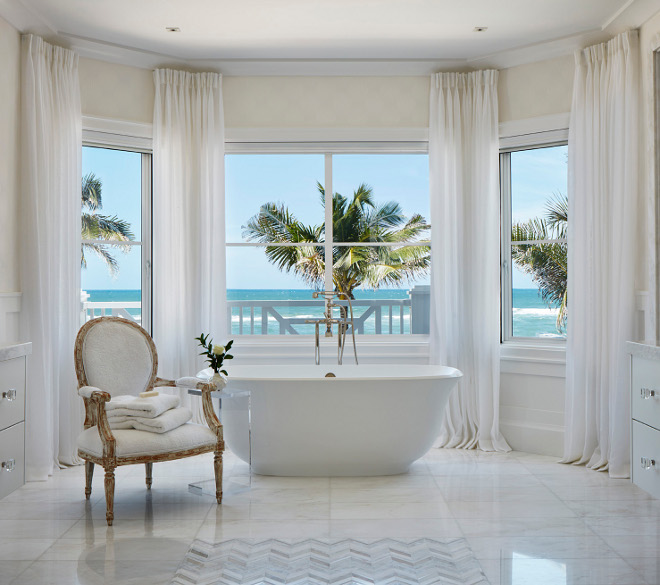 Bathroom Floor Tile. Flooring is Mystery White Marble tile. Mosaic is Mother of Pearl in a Herringbone pattern. Bathroom Floor Tile Mystery White Marble Mosaic Mother of Pearl Herringbone #bathroom #floortile #MysteryWhiteMarble #Mosaic #MotherofPe Pineapples Palms, Etc