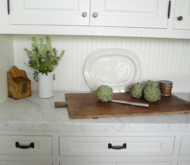 Beadboard backsplash. Beadboard backsplash. Rather than use a stone or tile backsplash we decided to use wood bead board. It created a warm farm-style look and was very budget friendly! Beadboard backsplash #Beadboardbacksplash #Beadboard #backsplash Beautiful Homes of Instagram @SanctuaryHomeDecor